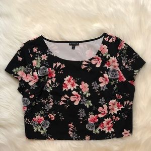 NWOT Express floral crop blouse